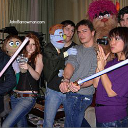 John with the cast of Avenue Q