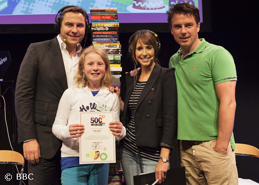 John with David Walliams, Alex Jones and the winner of the Silver Award of the 500 Words Competition