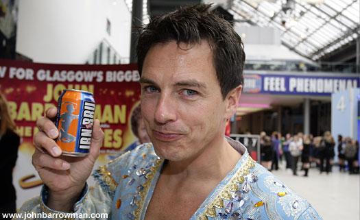 John as Aladdin with can of Irn-Bru. Both made in Scotland!
